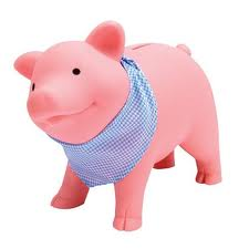 pink piggy bank with blue bandana
